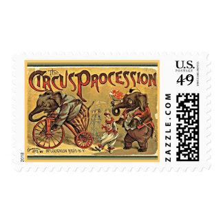 Procesión del circo timbres postales