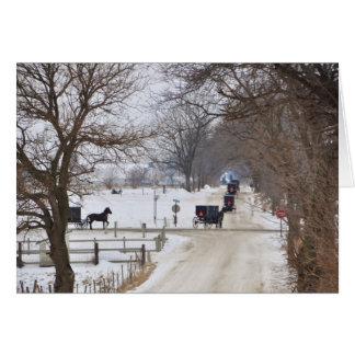 Procesión del invierno de Amish Tarjeta Pequeña