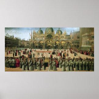Procesión en el cuadrado de St Mark, 1496 Poster