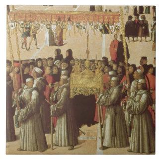 Procesión en el cuadrado del St Mark, detalle del Azulejo Cuadrado Grande