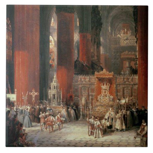 Procesión en la catedral de Sevilla, 1833 (aceite  Azulejo Cuadrado Grande