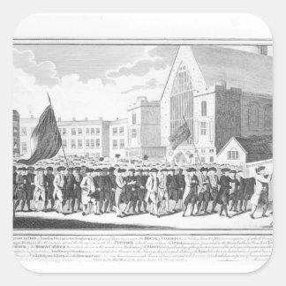 Procesión pacífica de los miembros del Protestant Pegatina Cuadrada