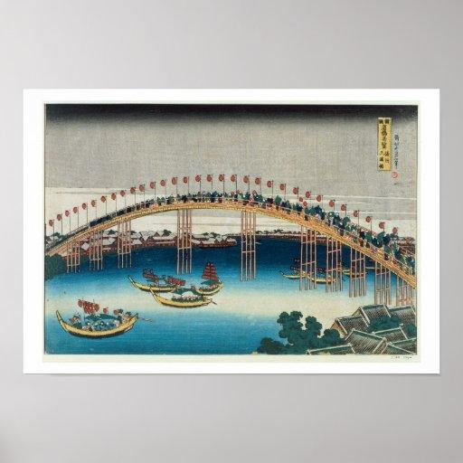 Procesión sobre un puente (impresión del woodblock poster