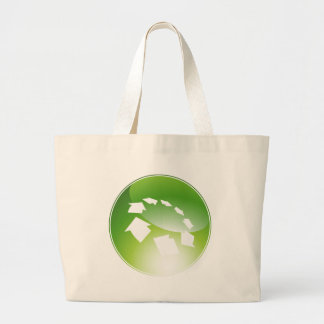 Process Arrows Green Icon Button Large Tote Bag