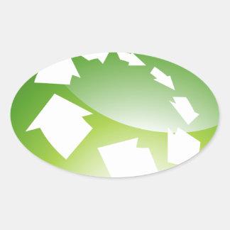 Process Arrows Green Icon Button Oval Sticker