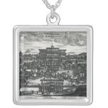 Procession from Macau, an illustration Square Pendant Necklace
