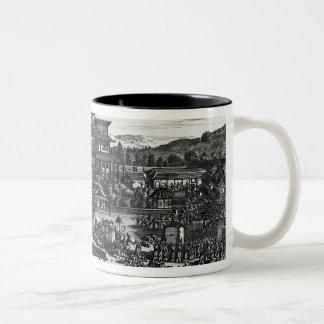 Procession from Macau, an illustration Two-Tone Coffee Mug