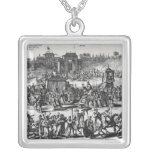 Procession from the gates of Macau Square Pendant Necklace