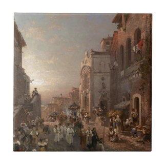 Procession in Naples by Franz Richard Unterberger Tile