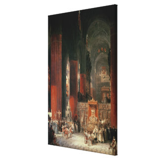 Procession in Seville Cathedral, 1833 (oil on canv Canvas Print