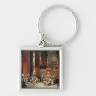 Procession in Seville Cathedral, 1833 (oil on canv Keychain
