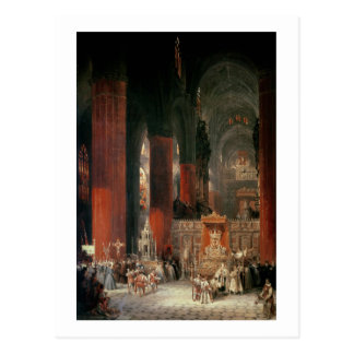 Procession in Seville Cathedral, 1833 (oil on canv Postcard