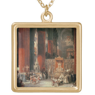 Procession in Seville Cathedral, 1833 (oil on canv Square Pendant Necklace