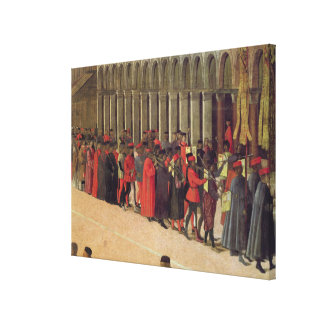 Procession in St. Mark's Square, detail of musicia Canvas Print