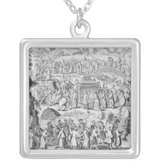Procession of a bride going home silver plated necklace