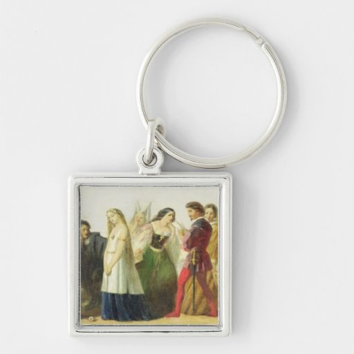 Procession of characters from Shakespeare (oil on Keychain