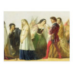 Procession of characters from Shakespeare (oil on Postcard