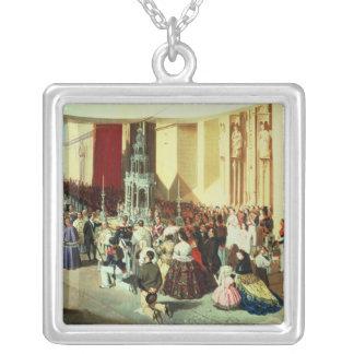 Procession of Corpus Christi in Seville Square Pendant Necklace