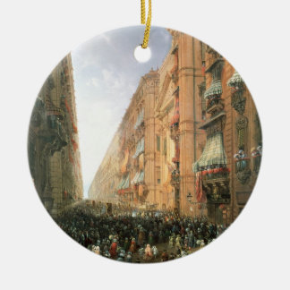 Procession of Corpus Christi in Via Dora Grossa, T Ceramic Ornament
