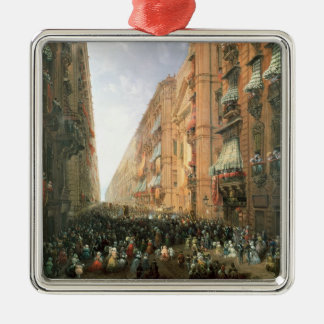 Procession of Corpus Christi in Via Dora Grossa, T Metal Ornament