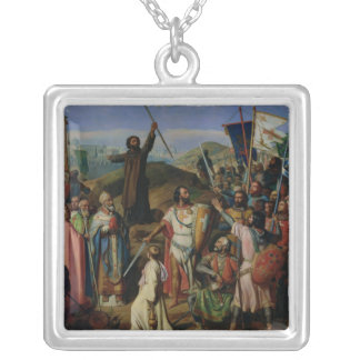 Procession of Crusaders around Jerusalem Silver Plated Necklace