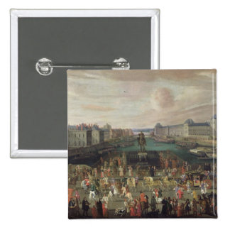 Procession of Louis XIV  Across the Pont-Neuf Button