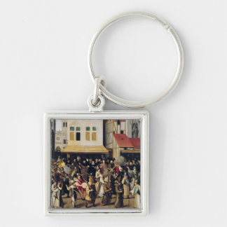 Procession of the Holy League in 1590 Silver-Colored Square Keychain