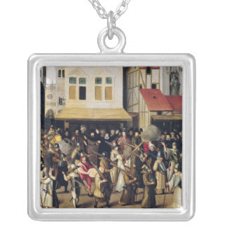 Procession of the Holy League in 1590 Silver Plated Necklace