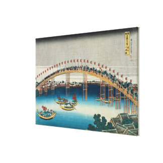 Procession over a Bridge (colour woodblock print) Canvas Print