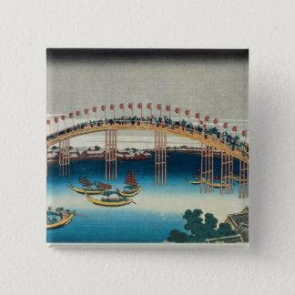 Procession over a Bridge (colour woodblock print) Pinback Button