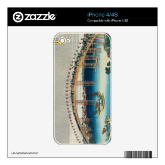 Procession over a Bridge (colour woodblock print) Skin For The iPhone 4
