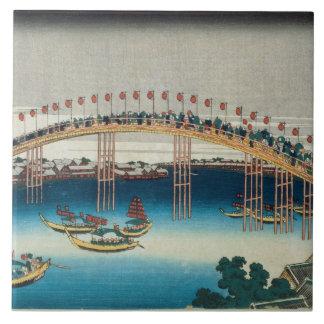 Procession over a Bridge (colour woodblock print) Tile