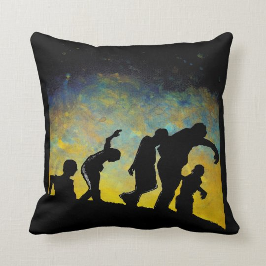 Procession To Breakfast Zombie Silhouette Pillow Zazzle Com