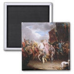 Procession to the Roiall Justs Holden in Smithfiel 2 Inch Square Magnet