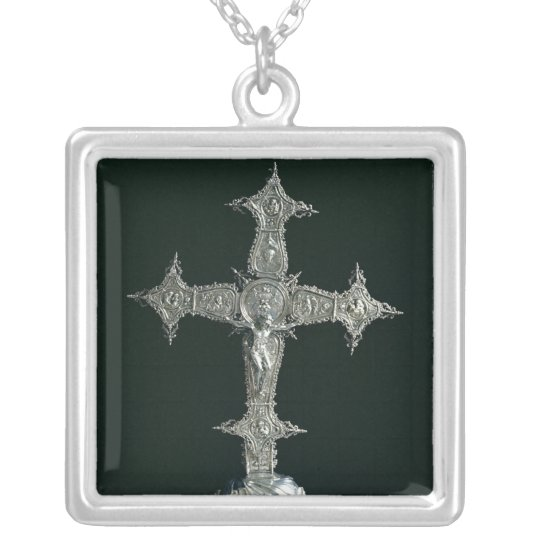 Processional cross silver plated necklace