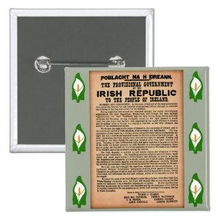 Proclamación 1916 de la insignia de Irlanda Pin Cuadrado