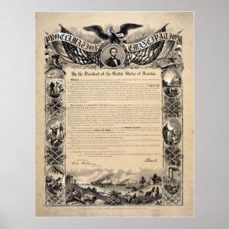 Proclamación de la emancipación de Abraham Lincoln Póster