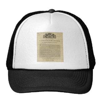 Proclamación del rey para suprimir la rebelión gorro de camionero
