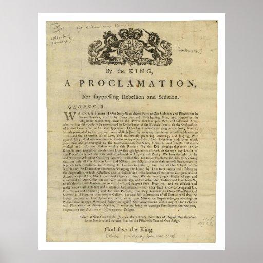 Proclamación para suprimir la rebelión y la sedici poster