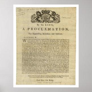 Proclamación para suprimir la rebelión y la sedici póster