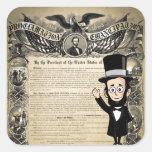Proclamación y Abe honesto Lincoln de la emancipac Calcomanías Cuadradas