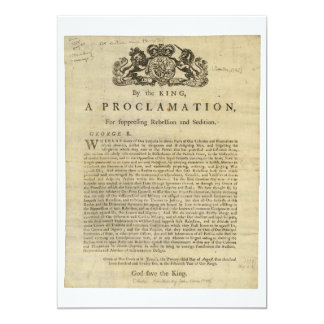 Proclamation by the King for Suppressing Rebellion 5x7 Paper Invitation Card