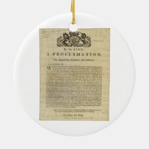 Proclamation by the King for Suppressing Rebellion Double-Sided Ceramic Round Christmas Ornament