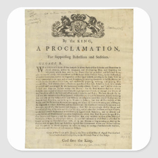 Proclamation by the King for Suppressing Rebellion Square Sticker