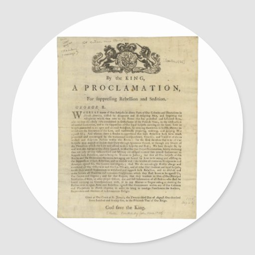 Proclamation by the King for Suppressing Rebellion Sticker
