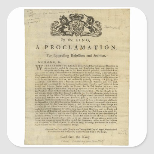 Proclamation by the King for Suppressing Rebellion Square Stickers