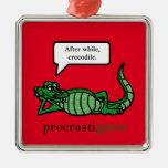 Procrastigator (After While, Crocodile) Square Metal Christmas Ornament