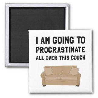Procrastinate Couch 2 Inch Square Magnet