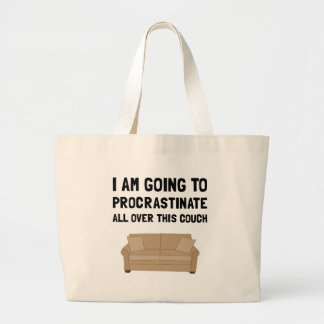 Procrastinate Couch Large Tote Bag