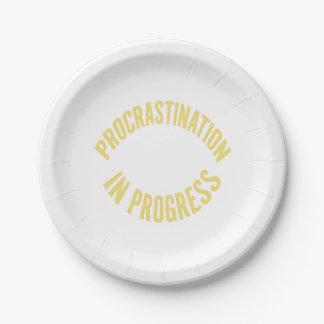Procrastination in Progress - Customize Background Paper Plate